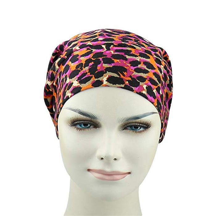 Fashion Leopard Print winter hats spandex Fabric Satin Lined Organic Beanie hat 3