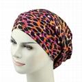 Fashion Leopard Print winter hats spandex Fabric Satin Lined Organic Beanie hat 6