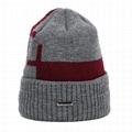 Merino wool beanie scarf set custom metal patch fisherman winter hat and scarf