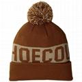 Wholesale mens pom pom ski beanie custom knitted cuff jacquard beanie no logo