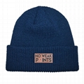 Factory Directly Sale Winter Custom Beanie Knit Warm Beanie Leather Patch