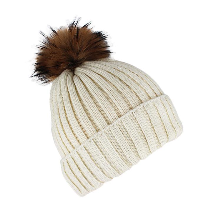 Custom Blank Basic Pom Beanie Knit Hat Skull Cap Toque Striped Knit Hat 2
