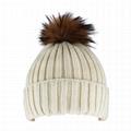 Custom Blank Basic Pom Beanie Knit Hat Skull Cap Toque Striped Knit Hat
