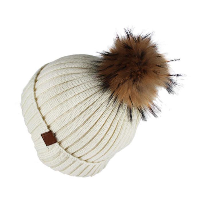 Custom Blank Basic Pom Beanie Knit Hat Skull Cap Toque Striped Knit Hat 5