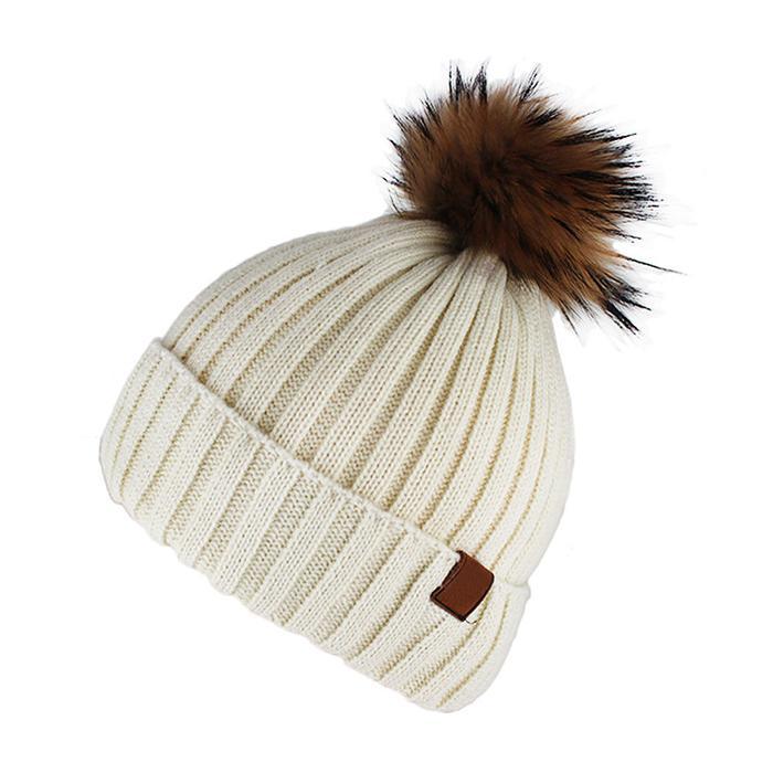 Custom Blank Basic Pom Beanie Knit Hat Skull Cap Toque Striped Knit Hat 1