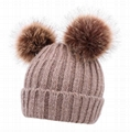 Cable Knit Beanie with Faux Fur Pompom Ears Beanie Winter Hat With Two Balls