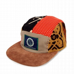 Different african print 5 panel hats custom winter corduroy trucker hat no mesh