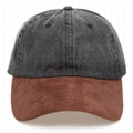 Hot sale 6 panel denim cap baseball hat custom plain suede bill 2 tone dad hat