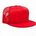 Red Foam Mesh Snapback Cap Flat Brim
