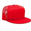 Red Foam Mesh Snapback Cap Flat Brim Trucker Cap Hats Blank Wholesale