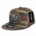 Flat brim snapback hat bear embroidery label California Republic Snapbacks cap