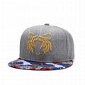 Custom 3D Embroidery Cap Hat Tiger Snapback Cap Hip Hop Flower Brim Cap Hat