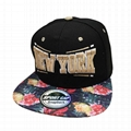 Custom Hip-hop floral Flat Brim Hat Snapbacks Caps Hats metal adjustable strap