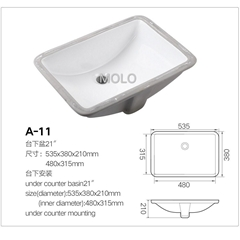 Rectangular Under Counter Washbasin  Ceramic Sink