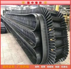 Corrugated edge conveyor belt, high temperature resistant