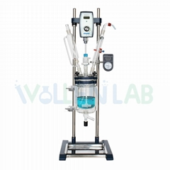 1L 2L 3L 5L Desktop Lab Anticorrosion Cylindrical Jacketed Glass Reactor