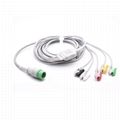 Compatible Biolight ECG One Piece Cable with 5 leads Grabber IEC Standard  1