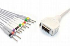 Compatible  Fukuda Denshi CardiMax FX-7102 EKG Cable,IEC,DIN 3.0