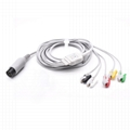 One-piece ECG Cable with 5 Leads Grabber Compatible AAMI