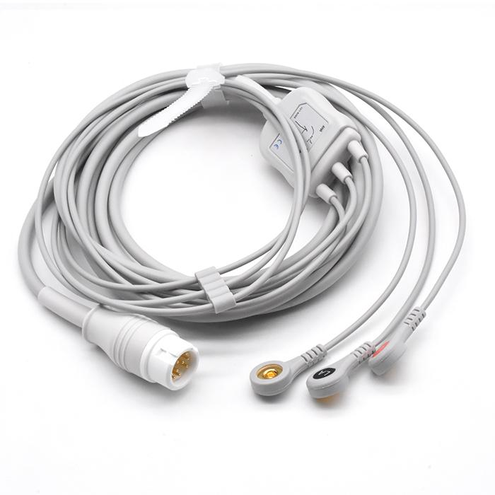 Philips Compatible One-piece ECG Cable 3 leads Snap 2