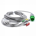 Nihon Kohden Compatible One-piece ECG Cable with 3 Leads