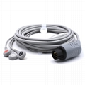 One-piece ECG Cable with 3 leads Snap AHA Compatible with Comen