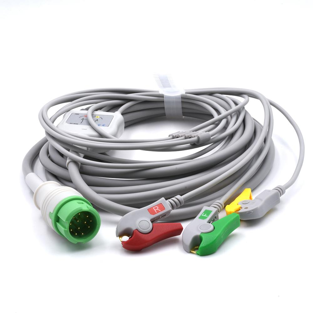 Mindray Compatible Direct-Connect ECG Cable with 3 leads Grabber IEC
