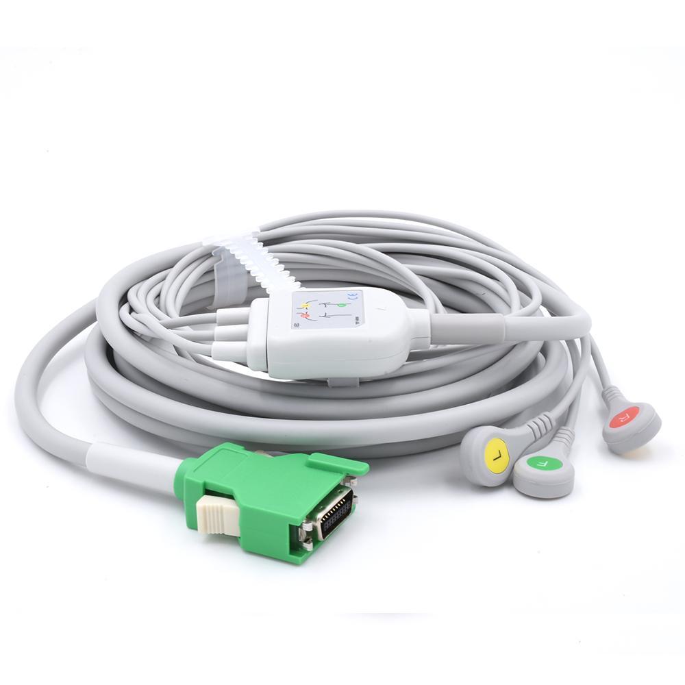 Direct-Connect ECG Cable 3 Leads Snap Compatible Nihon Kohden