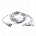 Biolight Compatible One-piece ECG Cable with 5 leads Snap IEC