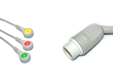 Mennen Compatible Direct-connect ECG Cable with 3 Leads Snap IEC 1