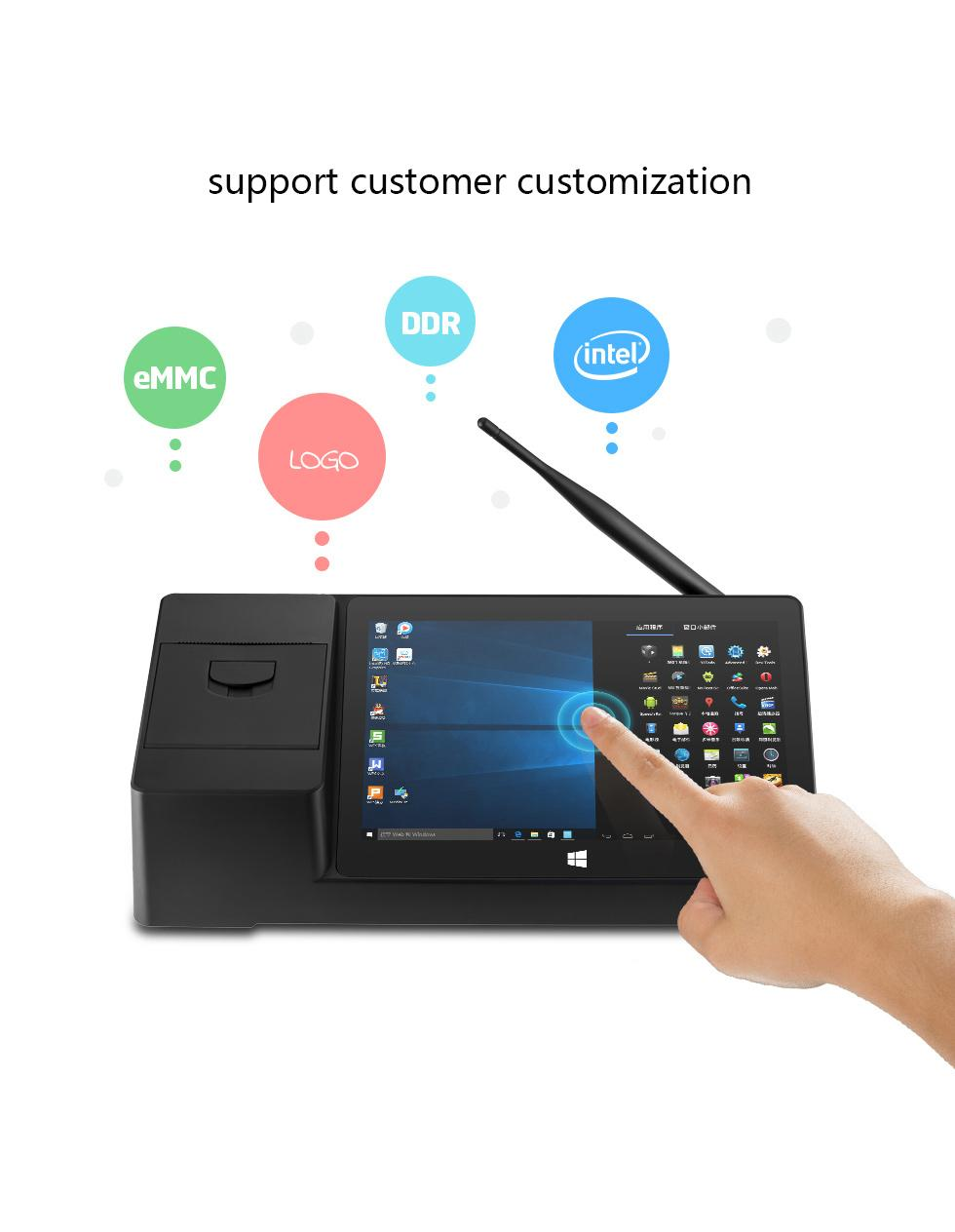 Z8350  X3 2G 32G Android 5.1 Win 10  BOX PC thermal printer RJ11  Pos machines  3
