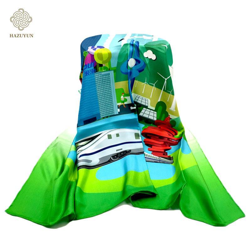 現貨定製印花真絲圍巾 2