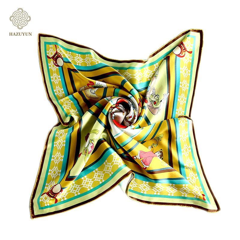 定製絲綢印花方形圍巾 1