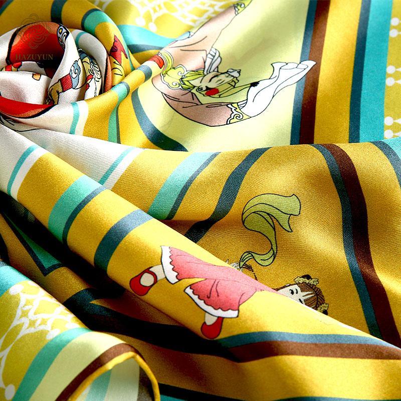 定製絲綢印花方形圍巾 4
