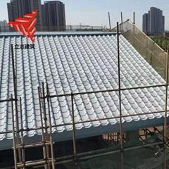 765型仿古琉璃瓦 铝镁锰合金金属屋面板 0.9mm厚建筑小青瓦