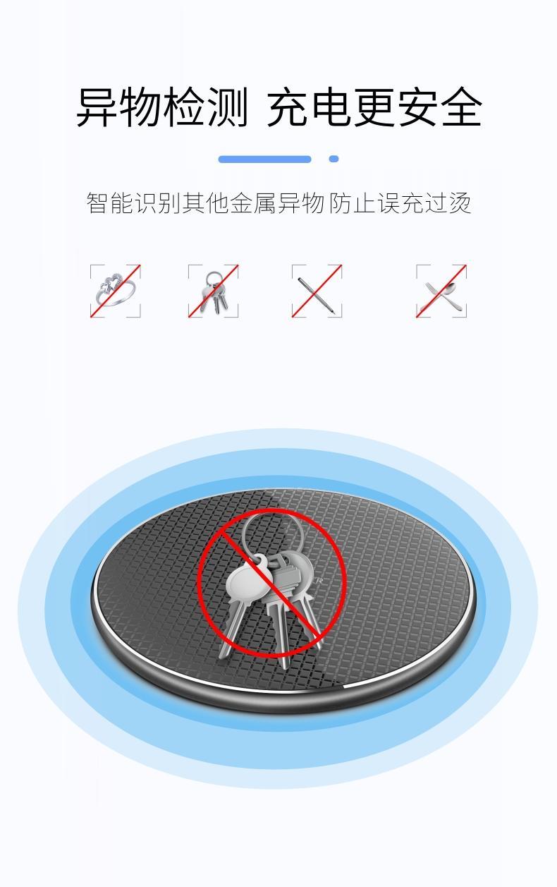 快充无线充电器圆形超薄款抖音同款适用于苹果华为三星手机 5
