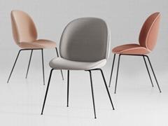 modern comfortable brass metal fully upholstered ve  et Gubi beetle dining chair