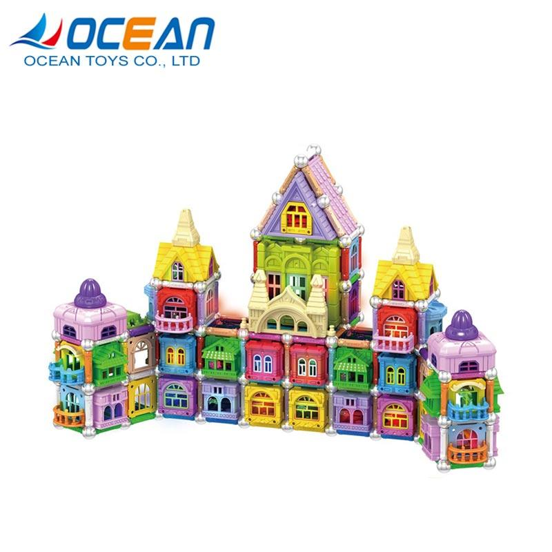 Educational 3D DIY kids set building magnetic toy block with light 1