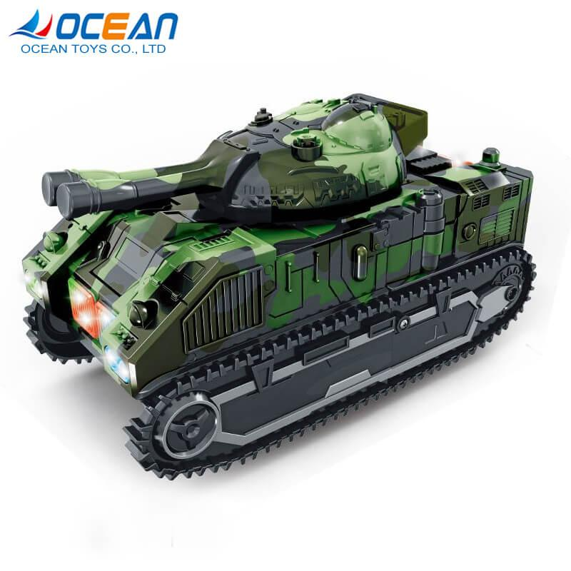 Battery operated deformation robot military army tank toys with light music 1