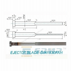 Ejector blade in Din1530FAH Flat ejector pin with cylindrical head