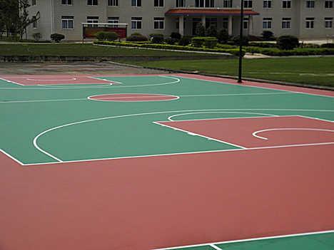 湖南長沙硅pu籃球場材料硅PU施工硅PU籃球場工程 5
