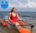 CE Certificate crystal clear canoe with paddles and seats for water sport