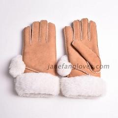 Ladies genuine sheepskin hand stitched sheepskin glove