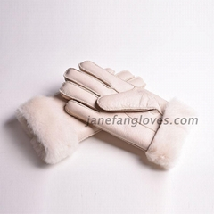 Wholesale customized hand-sewing winter warm women men sheepskin gloves