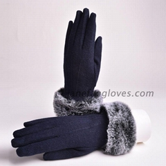 New Fashion China winter Ladies Woolen Winter Gloves with fur trim