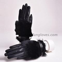 Women's 100% real sheepskin leather gloves lady winter warm fashion gloves