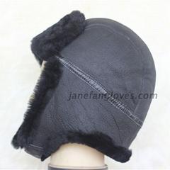 Wholesale bomber hat sheepskin trapper fur hat