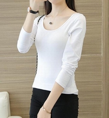 women's stretchy fabric round neck T shirt