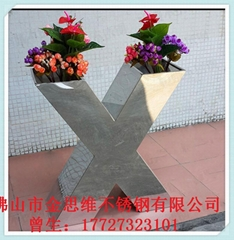 艺术不锈钢花盆园艺用品来图定制