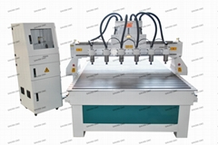 With 6 Head CNC Router for Wood Engraving